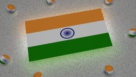 Gräsplan asia för vit för Indien flaggablått stock illustrationer