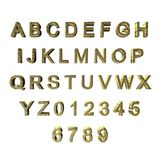 gräsplan 3D/guld mönstrade bokstäver/alfabet/nummer Arkivfoton