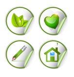 Gräsplan eco, bio etikett, klistermärkeuppsättning Royaltyfria Bilder