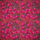 Gräsplan för den blom- designen lämnar rosa tulpan festlig bakgrund Arkivfoto