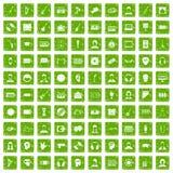 gräsplan för grunge för 100 åhöraresymboler fastställd Arkivfoto