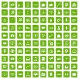 gräsplan för grunge för 100 affärsgruppsymboler fastställd Royaltyfri Bild