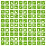 gräsplan för grunge för 100 affärsutbildningssymboler fastställd Royaltyfri Foto