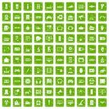 gräsplan för grunge för 100 apparatapp-symboler fastställd vektor illustrationer
