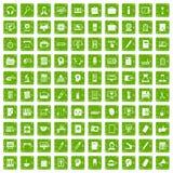 gräsplan för grunge för 100 arbetsutrymmesymboler fastställd Arkivfoton
