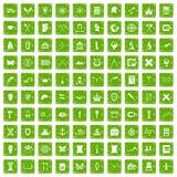 gräsplan för grunge för 100 arkeologisymboler fastställd Arkivfoto