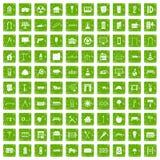 gräsplan för grunge för 100 arkitektursymboler fastställd Arkivbild