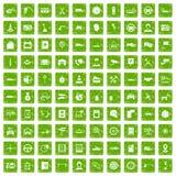 gräsplan för grunge för 100 auto symboler för tjänste- mitt fastställd Royaltyfri Bild