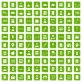 gräsplan för grunge för 100 avläsarsymboler fastställd Arkivbild