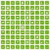 gräsplan för grunge för 100 bördasymboler fastställd Arkivbild