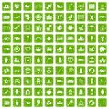 gräsplan för grunge för 100 barndomsymboler fastställd Royaltyfri Fotografi