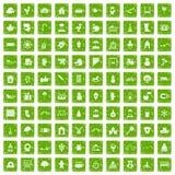 gräsplan för grunge för 100 dagissymboler fastställd Arkivfoto