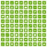gräsplan för grunge för 100 e-kommers symboler fastställd royaltyfri illustrationer
