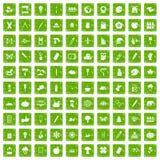gräsplan för grunge för 100 ecodesignsymboler fastställd vektor illustrationer