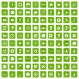 gräsplan för grunge för 100 emblemsymboler fastställd Fotografering för Bildbyråer