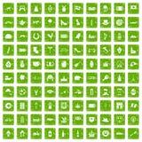 Gräsplan för grunge för 100 Europa symboler fastställd Royaltyfria Foton