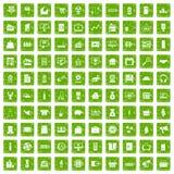 gräsplan för grunge för 100 försäljningssymboler fastställd Royaltyfri Bild