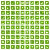 gräsplan för grunge för 100 familjsymboler fastställd Royaltyfria Foton