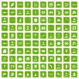 gräsplan för grunge för 100 favorit- arbetssymboler fastställd Arkivbild