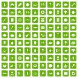 gräsplan för grunge för 100 favorit- matsymboler fastställd Arkivbild