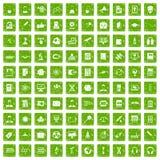 gräsplan för grunge för 100 forskarevetenskapssymboler fastställd Royaltyfria Foton
