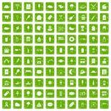 gräsplan för grunge för 100 gatamatsymboler fastställd Royaltyfria Foton