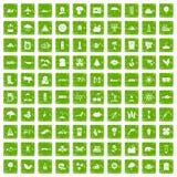 gräsplan för grunge för 100 global uppvärmningsymboler fastställd stock illustrationer