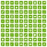 gräsplan för grunge för 100 grejsymboler fastställd Arkivbilder