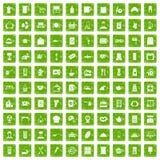 gräsplan för grunge för 100 köksgerådsymboler fastställd Arkivbilder