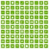 gräsplan för grunge för 100 kartografisymboler fastställd Arkivbilder