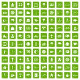 gräsplan för grunge för 100 kvinnasportsymboler fastställd Royaltyfria Bilder