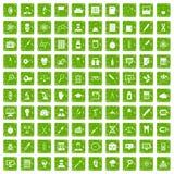 gräsplan för grunge för 100 labbsymboler fastställd Royaltyfria Bilder