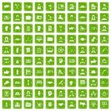 gräsplan för grunge för 100 lagarbetssymboler fastställd Arkivbilder