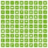 gräsplan för grunge för 100 landskapbeståndsdelsymboler fastställd royaltyfri illustrationer
