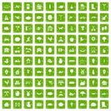 gräsplan för grunge för 100 lantgårdsymboler fastställd Royaltyfri Bild