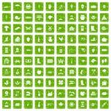 gräsplan för grunge för 100 lantgårdsymboler fastställd Arkivfoton