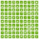 gräsplan för grunge för 100 lyckliga barndomsymboler fastställd vektor illustrationer