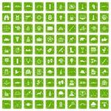 gräsplan för grunge för 100 målsymboler fastställd Fotografering för Bildbyråer