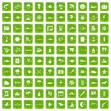 gräsplan för grunge för 100 marin- miljösymboler fastställd Fotografering för Bildbyråer