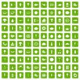 gräsplan för grunge för 100 matsymboler fastställd Fotografering för Bildbyråer