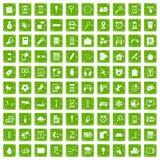 gräsplan för grunge för 100 mobila app-symboler fastställd Arkivbilder