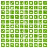 gräsplan för grunge för 100 musikaliska utbildningssymboler fastställd Royaltyfri Fotografi
