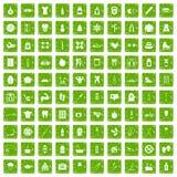 gräsplan för grunge för 100 passformkroppsymboler fastställd stock illustrationer