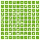 gräsplan för grunge för 100 rörelsehindrade sjukvårdsymboler fastställd stock illustrationer
