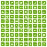 gräsplan för grunge för 100 resasymboler fastställd Royaltyfria Foton