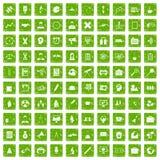 gräsplan för grunge för 100 seminariumsymboler fastställd Arkivbilder