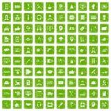 gräsplan för grunge för 100 servicesymboler fastställd Royaltyfri Fotografi