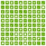 gräsplan för grunge för 100 showbusinesssymboler fastställd Fotografering för Bildbyråer