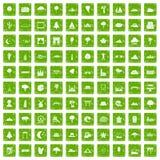 gräsplan för grunge för 100 siktssymboler fastställd Arkivbild