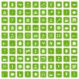 gräsplan för grunge för 100 skönhetsproduktsymboler fastställd Royaltyfria Bilder